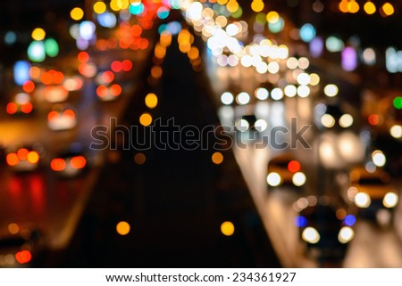 midnight traffic. The city lights. Motion blur  Abstract background , bangkok ,Thailand - stock photo