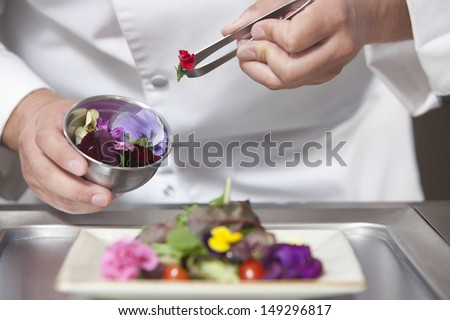 Midsection closeup of male chef arranging edible flowers on salad in commercial kitchen - stock photo