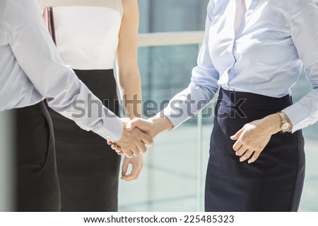 Midsection of businesswomen shaking hands in office - stock photo