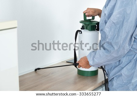 Midsection of exterminator spraying pesticide on kitchen counter - stock photo