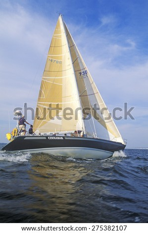 Midshipmen from the U.S. Naval Academy practice sailing skills in Chesapeake Bay, near Annapolis, Maryland - stock photo
