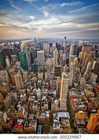 Midtown and lower Manhattan in New York City from high perspective  - stock photo