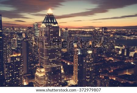 Midtown Manhattan New York skyline at night - stock photo