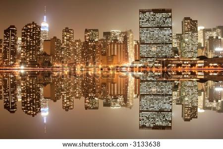 Midtown Manhattan skyline at Night Lights - stock photo