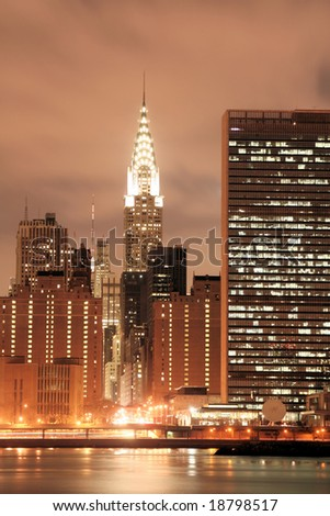 Midtown Manhattan skyline at Night Lights, NYC - stock photo