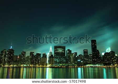Midtown Manhattan skyline at Night Lights, NYC - stock photo