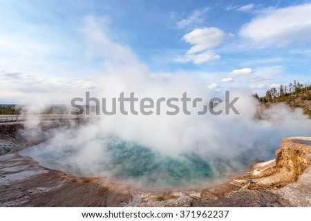 Midway Geyser basin, Yellowstone National Park, Wyoming, USA - stock photo
