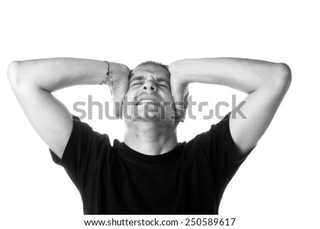 Migrain, black and white studio shot - stock photo