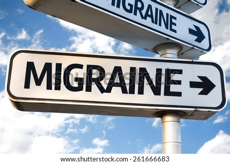 Migraine direction sign on sky background - stock photo