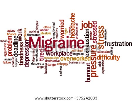 Migraine, word cloud concept on white background.  - stock photo