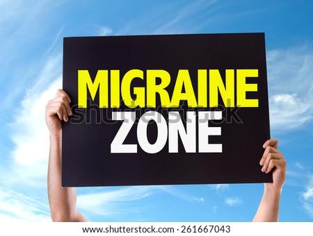 Migraine Zone card with sky background - stock photo
