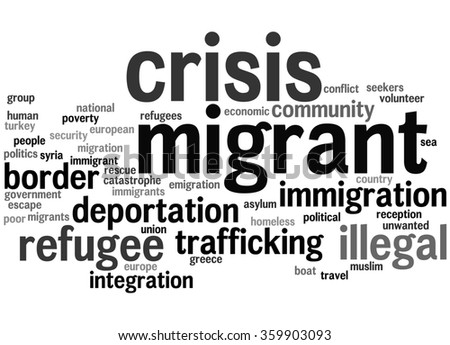 Migrant crisis word cloud concept on white background - stock photo