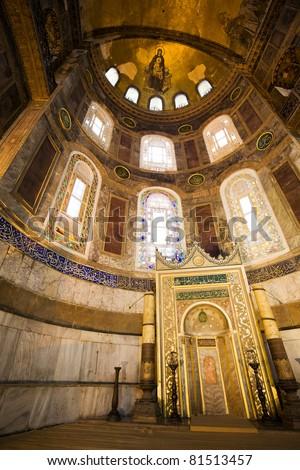 Mihrab in the Hagia Sophia (also called Hagia Sofia or Ayasofya), famous landmark in Istanbul, Turkey - stock photo