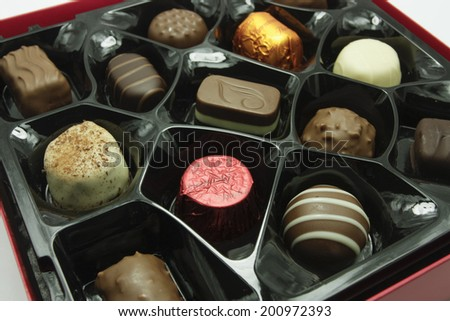 Miixed chocolate sweets boxed detail - stock photo