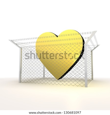 Mikado yellow  arrest 3d graphic with barbed heart sign - stock photo