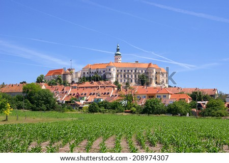 Mikulov (Nikolsburg) castle and town in South Moravia, Czech Republic - stock photo
