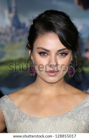 """Mila Kunis at the """"Oz The Great and Powerful"""" World Premiere, El Capitan, Hollywood, CA 02-13-13 - stock photo"""