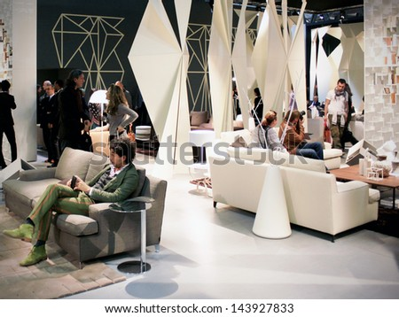 MILAN - APRIL 15: Interior design solution in exhibition at Salone del Mobile, international furnishing accessories exhibition April 15, 2010 in Milan, Italy. - stock photo