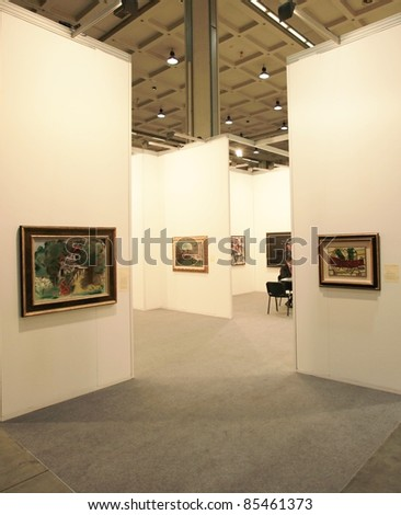 MILAN - APRIL 08: Painting and sculpture galleries on display during MiArt, international exhibition of modern and contemporary art on April 08, 2011 in Milan, Italy - stock photo