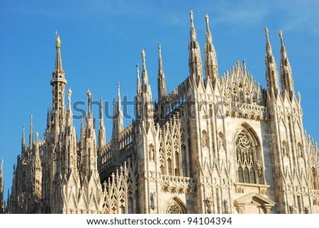 Milan Cathedral (Duomo di Milano) and blue sky - stock photo