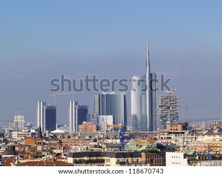 Milan, cityscape from cathedral's roof, Lombardy, Italy - stock photo