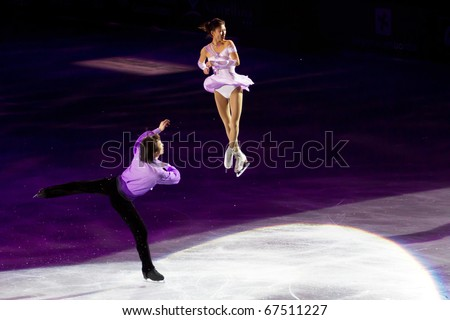 MILAN - DEC 18: Qing Pang & Jian Tong during the Ice Christmas Gala in the Forum Arena, on December, 2010, in Milan. - stock photo