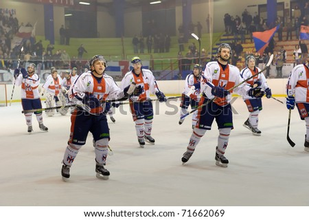 MILAN  -  FEBRUARY 18:     Standing ovation for HC Milano  on  the  game HC Milan - HC Appiano ( Italian A2 Play Off League ) on 19 February in Milan (Italy) - stock photo