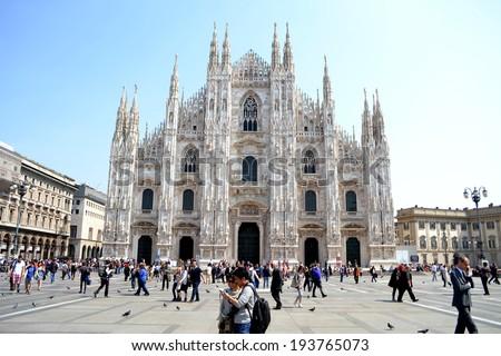 MILAN, ITALY - APR 17: Cathedral of Milan April 17, 2013 in Milan, Italy.  - stock photo