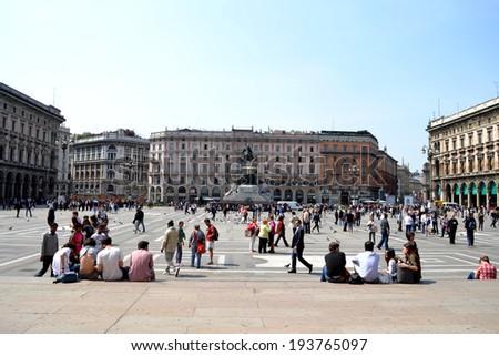 MILAN, ITALY - APR 17: Piazza Duomo April 17, 2013 in Milan, Italy.  - stock photo