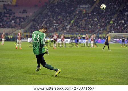 MILAN, ITALY-APRIL 19, 2015: AC Milan soccer goalkeeper Diego Lopez kicks the ball during the soccer milanese derby FC Internazionale vs AC Milan, at the san siro soccer stadium, in Milan. - stock photo