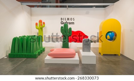 MILAN, ITALY - APRIL 10: Design furniture on display at  Miart, international exhibition of modern and contemporary art on APRIL 10, 2015 in Milan. - stock photo
