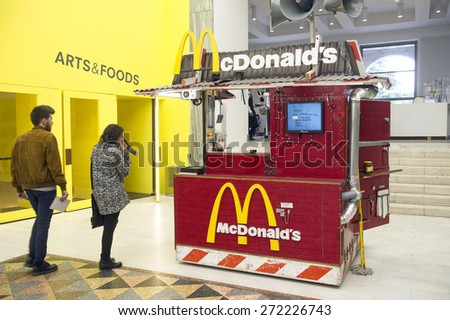 MILAN, ITALY-APRIL 17, 2015: mc donald's fast food restaurant displayed during the Arts and Foods exhibition at the architecture, design and arts museum La Triennale, in Milan. - stock photo