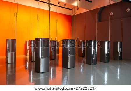 MILAN, ITALY-APRIL 17, 2015: modern refrigerators displayed during the Arts and Foods exhibition at the architecture, design and arts museum La Triennale, in Milan. - stock photo