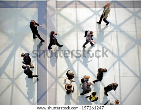 MILAN, ITALY - APRIL 15: Panoramic view of people walking to the entrance of Salone del Mobile, international furnishing accessories exhibition April 15, 2010 in Milan, Italy.  - stock photo