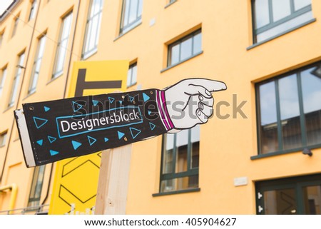 MILAN, ITALY - APRIL 13: Sign at Fuorisalone, set of events distributed in different areas of the town during Milan Design Week on APRIL 13, 2016 in Milan. - stock photo