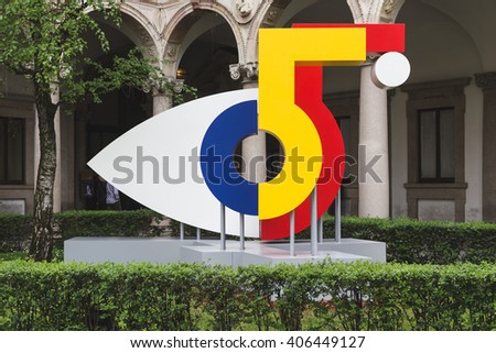 MILAN, ITALY - APRIL 15: Symbol of the 55th Design Week at Fuorisalone, set of events distributed in different areas of the town during Milan Design Week on APRIL 15, 2016 in Milan. - stock photo
