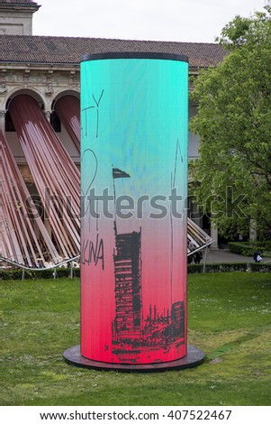 MILAN, ITALY - APRIL 16: Towers by Sergey Kuznetsov and Agniya Sterligova, installation for the 2016 Salone del Mobile in Milan during Milan Design Week on APRIL 16, 2016 - stock photo