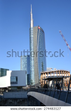 MILAN, ITALY - APRIL 30: Unicredit tower, on April 30, 2015 in Milan, Italy  - stock photo
