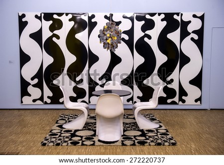 MILAN, ITALY-APRIL 17, 2015: vintage design elements displayed during the Arts and Foods exhibition at the architecture, design and arts museum La Triennale, in Milan. - stock photo