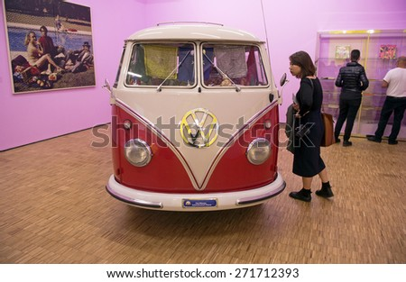 MILAN, ITALY-APRIL 17, 2015: vintage Volkswagen van displayed during the exhibition Arts and Foods, at La Triennale museum, in Milan. - stock photo