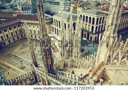 Milan, Italy architecture. View from Milan Cathedral on Royal Palace of Milan - Palazzo Realle. - stock photo
