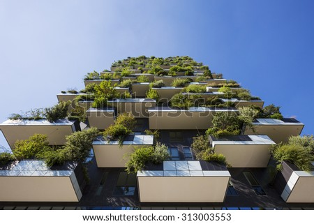 MILAN, ITALY, August 30, 2015: Skyscraper Vertical Forest. The special feature of this building is the presence of more than 900 tree species. - stock photo