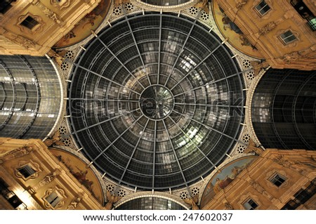 MILAN, ITALY - CIRCA FEBRUARY 2014: Galleria Vittorio Emanuele II, one of the world's oldest shopping malls. The gallery is built between 1865 and 1877 by Giuseppe Mengoni - stock photo
