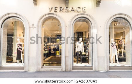MILAN,ITALY - DECEMBER 30, 2014: Versace shop in Milan.Versace is a world famous fashion brand. - stock photo