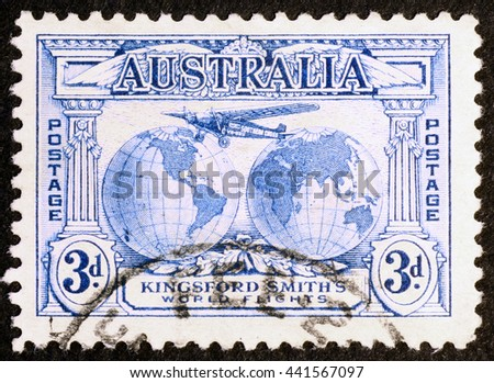 Milan, Italy - December 18, 2013: Vintage australian air mail postage stamp - stock photo