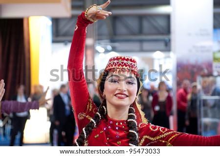 MILAN, ITALY - FEBRUARY 17: Azerbaijan dancer at BIT International Tourism Exchange on february 17, 2012 in Milan, Italy. - stock photo