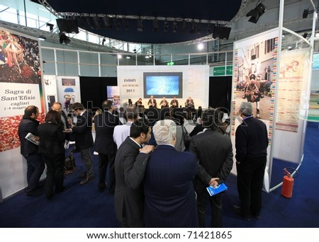 MILAN, ITALY - FEBRUARY 17: Business conference at Sardegna regional stand at Italy pavilion area during BIT, International Tourism Exchange Exhibition on February 17, 2011 in Milan, Italy. - stock photo