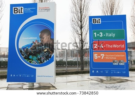 MILAN, ITALY - FEBRUARY 20: Close-up of entrance at World and Italy tourism pavilions during BIT, International Tourism Exchange Exhibition on February 20, 2011 in Milan, Italy. - stock photo