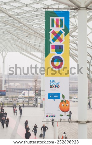 MILAN, ITALY - FEBRUARY 13: Expo banner at Bit, international tourism exchange reference point for the travel industry on FEBRUARY 13, 2015 in Milan. - stock photo