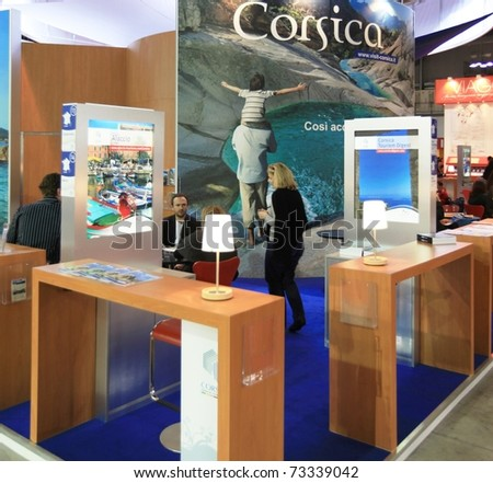 MILAN, ITALY - FEBRUARY 17: People at Corsica stand, World tourism pavilion during BIT, International Tourism Exchange Exhibition on February 17, 2011 in Milan, Italy. - stock photo
